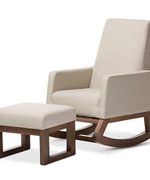 Baxton Studio Yashiya Mid Century Retro Modern Fabric Upholstered Rocking Chair Light Beige 0 3 300x360