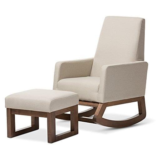 Baxton Studio Yashiya Mid Century Retro Modern Fabric Upholstered Rocking Chair Light Beige 0 3