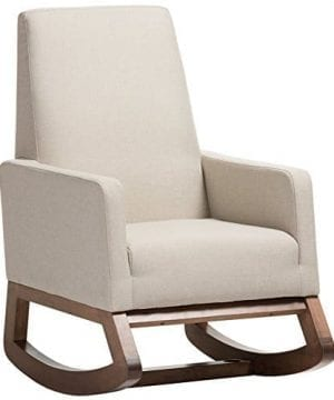 Baxton Studio Yashiya Mid Century Retro Modern Fabric Upholstered Rocking Chair Light Beige 0 300x360