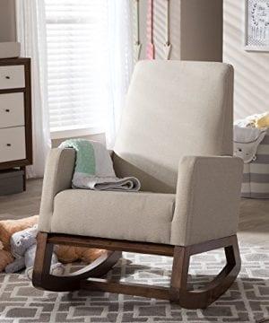 Baxton Studio Yashiya Mid Century Retro Modern Fabric Upholstered Rocking Chair Light Beige 0 4 300x360