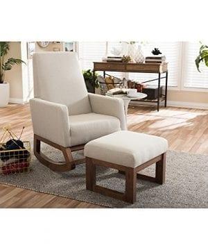 Baxton Studio Yashiya Mid Century Retro Modern Fabric Upholstered Rocking Chair Light Beige 0 5 300x360