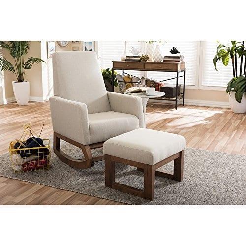 Baxton Studio Yashiya Mid Century Retro Modern Fabric Upholstered Rocking Chair Light Beige 0 5