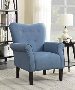 Belleze Modern Accent Chair Roll Arm Linen Living Room Bedroom