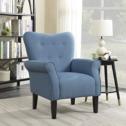 Belleze Modern Accent Chair Roll Arm Linen Living Room Bedroom Wood Leg,  Blue