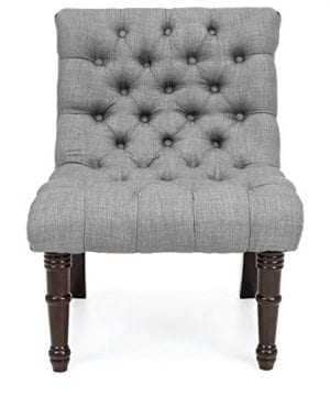 Best Choice Products Living Room Upholstered Linen Casual Tufted Accent Chair WWood Legs Gray 0 0 300x360
