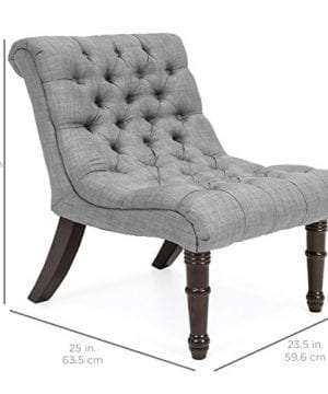 Best Choice Products Living Room Upholstered Linen Casual Tufted Accent Chair WWood Legs Gray 0 4 300x360