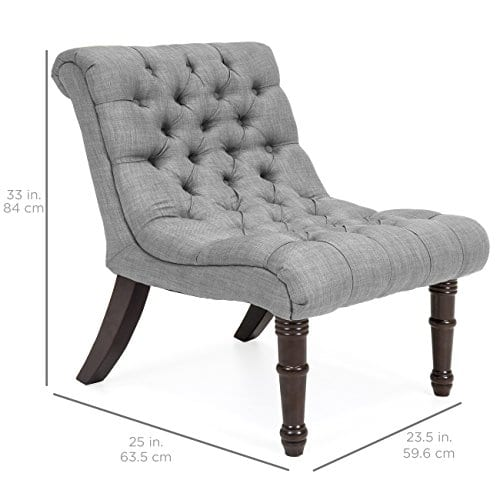 Best Choice Products Living Room Upholstered Linen Casual Tufted Accent Chair WWood Legs Gray 0 4