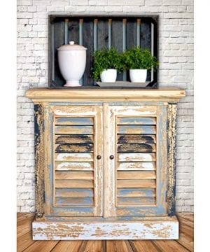 Boatyard TV Cabinet Shutter Doors Rustic Creamy White Weathered Teal Gray Black And White Distressed Seaside Style 15 14 L X 32 34 W X 31 12 H Inches 0 0 300x360
