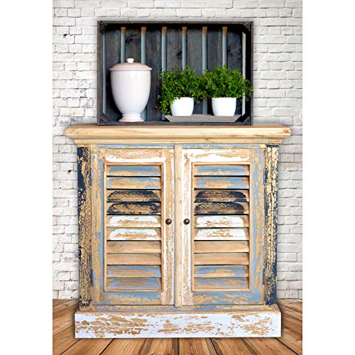 Boatyard TV Cabinet Shutter Doors Rustic Creamy White Weathered Teal Gray Black And White Distressed Seaside Style 15 14 L X 32 34 W X 31 12 H Inches 0 0