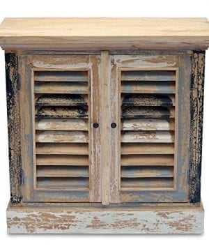 Boatyard TV Cabinet Shutter Doors Rustic Creamy White Weathered Teal Gray Black And White Distressed Seaside Style 15 14 L X 32 34 W X 31 12 H Inches 0 4 300x360