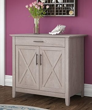 Bush Furniture Key West Secretary Desk With Keyboard Tray And Storage Cabinet In Washed Gray 0 300x360