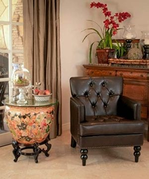 Christopher Knight Home Tufted Club Chair Decorative Accent Chair With Studded Details Brown 0 0 300x360