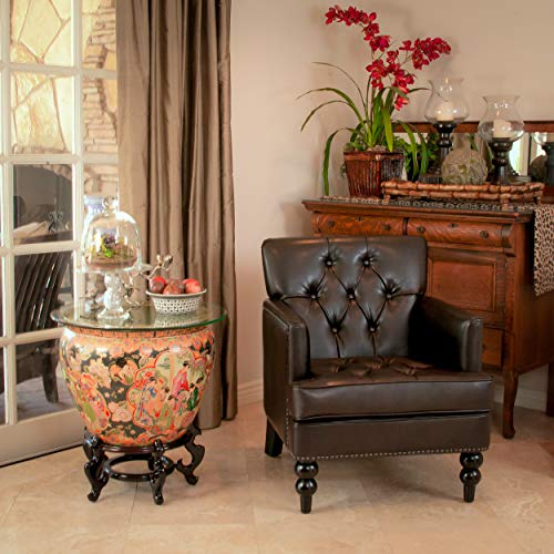 Christopher Knight Home Tufted Club Chair Decorative Accent Chair With Studded Details Brown 0 0