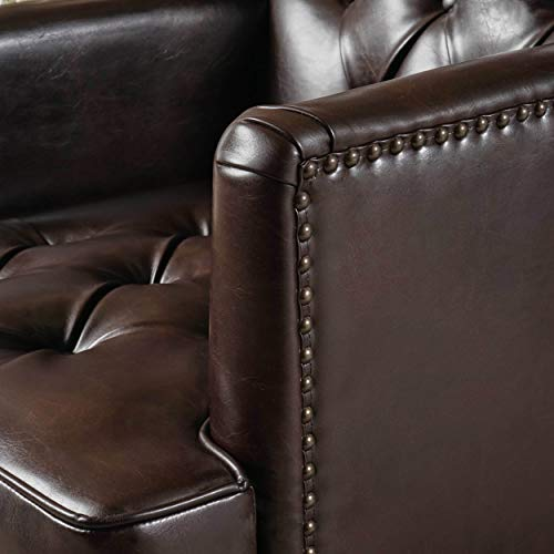 Christopher Knight Home Tufted Club Chair Decorative Accent Chair With Studded Details Brown 0 1