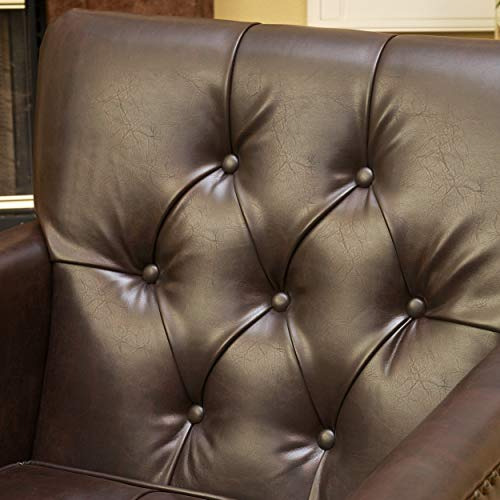 Christopher Knight Home Tufted Club Chair Decorative Accent Chair With Studded Details Brown 0 3