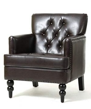 Christopher Knight Home Tufted Club Chair Decorative Accent Chair With Studded Details Brown 0 300x360