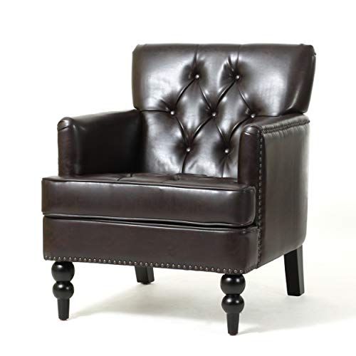 Christopher Knight Home Tufted Club Chair Decorative Accent Chair With Studded Details Brown 0