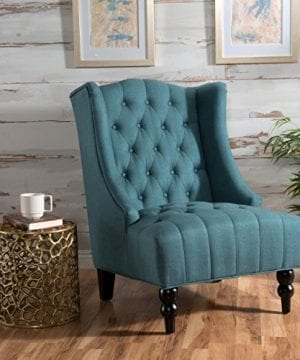 Clarice Tall Wingback Tufted Fabric Accent Chair Vintage Club Seat For Living Room Dark Teal 0 300x360