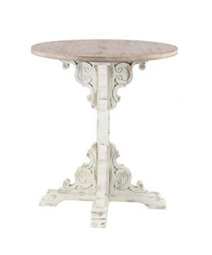 Deco 79 42929 Traditional Round Wooden Accent Table 26 W X 29 H Beige White 0 0 300x360