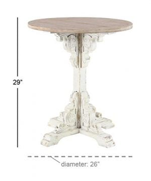 Deco 79 42929 Traditional Round Wooden Accent Table 26 W X 29 H Beige White 0 2 300x360