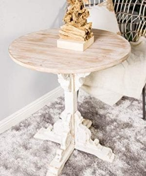 Deco 79 42929 Traditional Round Wooden Accent Table 26 W X 29 H Beige White 0 3 300x360