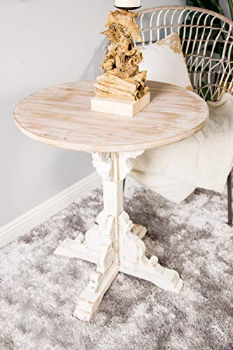 Deco 79 42929 Traditional Round Wooden Accent Table 26 W X 29 H Beige White 0 3
