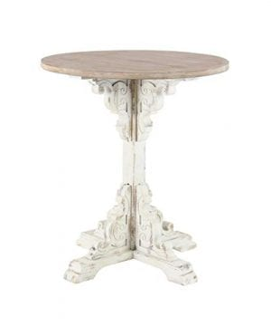Deco 79 42929 Traditional Round Wooden Accent Table 26 W X 29 H Beige White 0 300x360