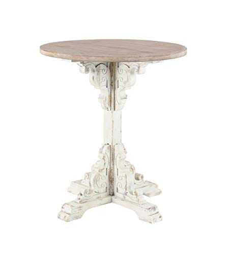 Deco 79 42929 Traditional Round Wooden Accent Table 26 W X 29 H Beige White 0
