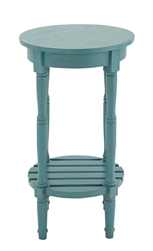 Deco 79 96223 Wood Round Accent Table 16 X 29 Teal 0 0