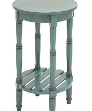 Deco 79 96223 Wood Round Accent Table 16 X 29 Teal 0 1 300x360