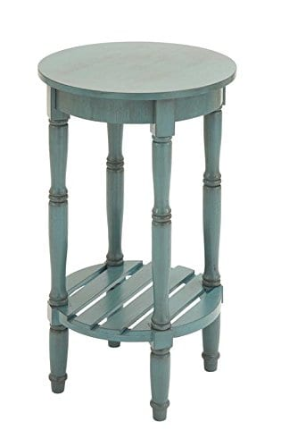 Deco 79 96223 Wood Round Accent Table 16 X 29 Teal 0 1