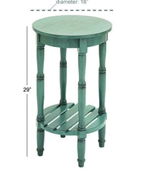 Deco 79 96223 Wood Round Accent Table 16 X 29 Teal 0 2 300x360