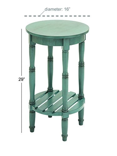 Deco 79 96223 Wood Round Accent Table 16 X 29 Teal 0 2
