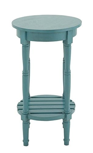 Deco 79 96223 Wood Round Accent Table 16 X 29 Teal 0