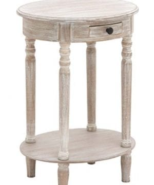 Deco 79 96290 Wood Oval Accent Table 27 X 20 Taupe 0 0 300x360