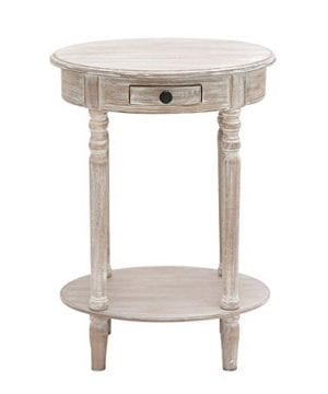 Deco 79 96290 Wood Oval Accent Table 27 X 20 Taupe 0 1 300x360