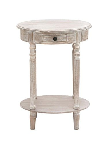 Deco 79 96290 Wood Oval Accent Table 27 X 20 Taupe 0 1