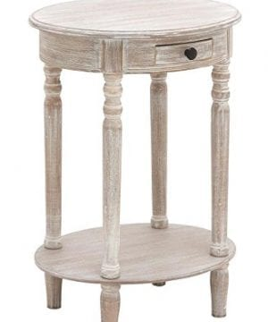Deco 79 96290 Wood Oval Accent Table 27 X 20 Taupe 0 2 300x360