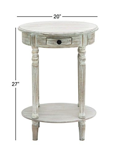 Deco 79 96290 Wood Oval Accent Table 27 X 20 Taupe 0 3