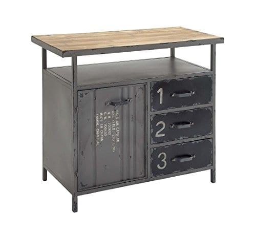 Deco 79 Industrial Repurposed Metal Utility Cabinet With Storage Wood Tabletop Industrial Furniture Storage Cabinet Wood Metal Cabinet 36 X 32 0 0