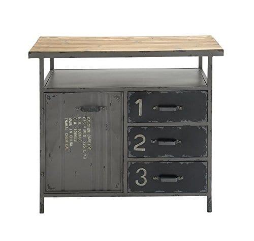 Deco 79 Industrial Repurposed Metal Utility Cabinet With Storage Wood Tabletop Industrial Furniture Storage Cabinet Wood Metal Cabinet 36 X 32 0 1