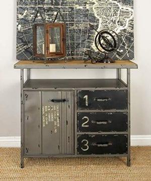 Deco 79 Industrial Repurposed Metal Utility Cabinet With Storage Wood Tabletop Industrial Furniture Storage Cabinet Wood Metal Cabinet 36 X 32 0 2 300x360