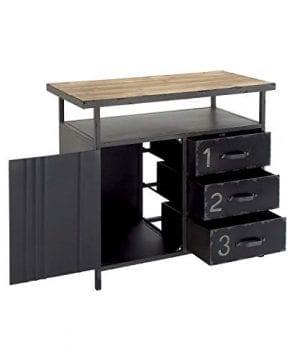 Deco 79 Industrial Repurposed Metal Utility Cabinet With Storage Wood Tabletop Industrial Furniture Storage Cabinet Wood Metal Cabinet 36 X 32 0 3 300x360