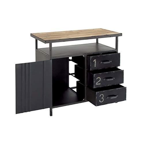 Deco 79 Industrial Repurposed Metal Utility Cabinet With Storage Wood Tabletop Industrial Furniture Storage Cabinet Wood Metal Cabinet 36 X 32 0 3