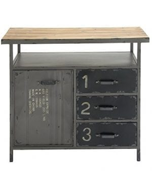 Deco 79 Industrial Repurposed Metal Utility Cabinet With Storage Wood Tabletop Industrial Furniture Storage Cabinet Wood Metal Cabinet 36 X 32 0 300x360