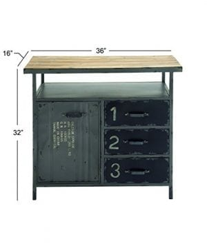 Deco 79 Industrial Repurposed Metal Utility Cabinet With Storage Wood Tabletop Industrial Furniture Storage Cabinet Wood Metal Cabinet 36 X 32 0 4 300x360