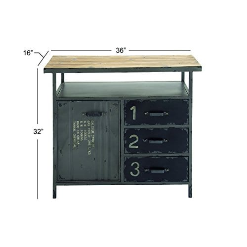 Deco 79 Industrial Repurposed Metal Utility Cabinet With Storage Wood Tabletop Industrial Furniture Storage Cabinet Wood Metal Cabinet 36 X 32 0 4
