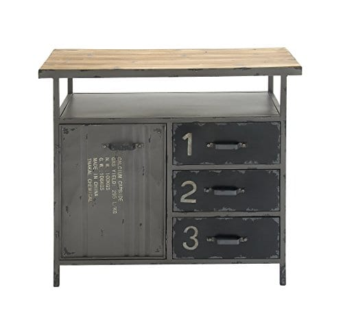 Deco 79 Industrial Repurposed Metal Utility Cabinet With Storage Wood Tabletop Industrial Furniture Storage Cabinet Wood Metal Cabinet 36 X 32 0