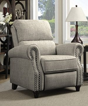 Domesis Push Back Recliner Chair In Barley Tan Linen 0 300x360