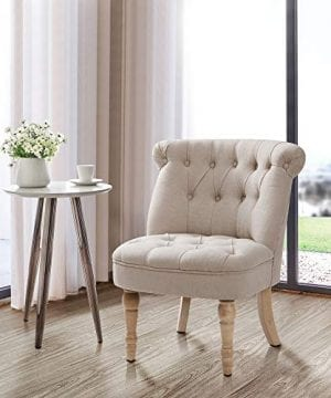 Finnkarelia Furniture Accent Chair Tifted Armless Upholstered Chair Living Room Seat Side Chiar With ButtonTufts Beige 0 300x360